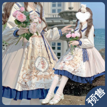 Dress Summer 2021 collect a deposit XS,S,M,L,XL Middle-skirt singleton  Long sleeves Sweet Doll Collar Hand painted zipper A-line skirt bishop sleeve Others Type A bow , Ruffles , Pleating , Embroidery , fold , Splicing , zipper , printing Yang Yangyang Lolita