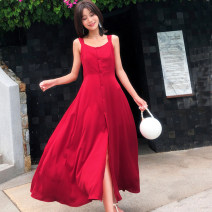 Dress Summer of 2018 gules S,M,L,XL longuette singleton  Sweet Crew neck High waist Solid color Socket Big swing camisole Type A Other / other Hollow out, open back, lace up, bandage 51% (inclusive) - 70% (inclusive) Chiffon Bohemia