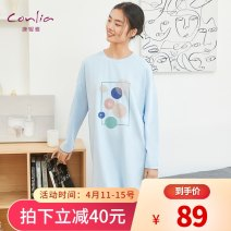 Nightdress Connia / connia Long sleeve - Light Pink Long Sleeve - Light Blue Short Sleeve - lemon yellow short sleeve - light grey short sleeve - Royal Blue Short Sleeve - Blue 155(S) 160(M) 165(L) 170(XL) 175(XXL) Simplicity Long sleeves Leisure home Middle-skirt spring Dot youth Crew neck cotton