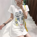 Dress Summer of 2018 White, black S,M,L,XL Mid length dress singleton  Short sleeve commute Crew neck High waist Solid color Socket A-line skirt routine Others 18-24 years old Retro Embroidery, stitching other other