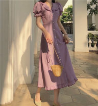 Dress Summer 2021 Purple, yellow S,M,L longuette singleton  Short sleeve commute Doll Collar Solid color Single breasted A-line skirt puff sleeve Others 18-24 years old Type A Retro Ruffles, folds, stitches More than 95% Chiffon cotton