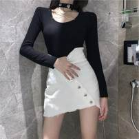 T-shirt White skirt, black T-shirt S,M,L Summer 2020 Long sleeves Crew neck Self cultivation Regular routine commute other 96% and above 18-24 years old Korean version Solid color