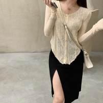 Wool knitwear Autumn 2020 S,M,L Apricot cardigan, black skirt Long sleeves singleton  Socket silk 30% and below Regular Thin money commute Self cultivation routine Solid color Socket Korean version 18-24 years old