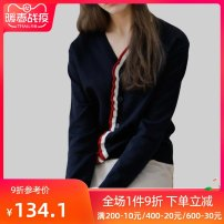 sweater Winter of 2019 S M L XL XXL Tibetan green Long sleeves Cardigan singleton  Regular polyester fiber 71% (inclusive) - 80% (inclusive) V-neck Thin money street routine Solid color Self cultivation Fine wool Keep warm and warm 30-34 years old QOOEL QOOELCKM049 Splicing wool Single breasted