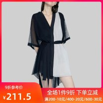 Dress Summer 2020 Splicing S M L XL 2XL longuette singleton  elbow sleeve street V-neck High waist Solid color Socket Irregular skirt routine Others 25-29 years old Type A QOOEL Splicing L235 More than 95% polyester fiber Polyester 100% Exclusive payment of tmall Europe and America