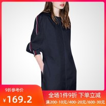 Dress Autumn of 2019 Tibetan green S M L XL 2XL Mid length dress singleton  Long sleeves street Crew neck Loose waist Solid color Socket other other Others 25-29 years old QOOEL More than 95% polyester fiber Polyester 100% Pure e-commerce (online only) Europe and America