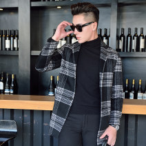 woolen coat Black and white 170 175 180 185 Mingchu Fashion City Wool 80% polyester 20% Autumn of 2018 Medium length go to work standard youth wool