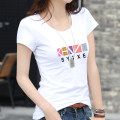 T-shirt S M L XL XXL XXXL Winter of 2018 Short sleeve Crew neck Self cultivation Regular routine commute cotton 86% (inclusive) -95% (inclusive) 25-29 years old Simplicity classic Color matching of geometric pattern letters Zhuoyi water YD102-030 printing Pure e-commerce (online only)