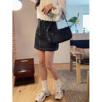 skirt Spring 2021 XXS,XS,S,M black Short skirt Versatile High waist A-line skirt Solid color Type A other other