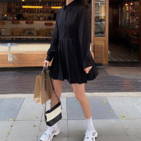 Dress Spring 2021 black XXS,XS,S,M Mid length dress singleton  Long sleeves commute other High waist Solid color Pleated skirt routine Others Type H Korean version other