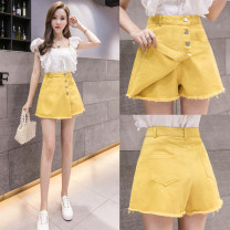 Jeans Summer of 2019 Yellow black white S M L XL shorts High waist Wide legged trousers 18-24 years old Wash button Hidina Other 100% Pure e-commerce (online only)