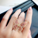 Ring / ring Alloy / silver / gold 101-200 yuan GETCUTEY Average size [spot] brand new goods in stock Japan and South Korea female Fresh out of the oven Alloy inlaid artificial gem / semi gem Butterfly / Dragonfly / insect