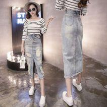 skirt Autumn 2016 XXS can be worn within 80 kg, XS, s, m, l, XL, 2XL, 3XL, 4XL Light blue, dark blue 662 longuette Versatile High waist Denim skirt Solid color Type H 18-24 years old 662# Denim cotton