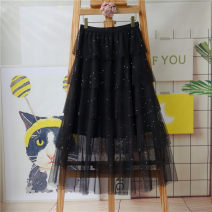 skirt Spring 2021 S,M,L,XL black longuette commute High waist A-line skirt Solid color Type A 25-29 years old Lace Xiyixiu polyester fiber Sequins, gauze, stitching