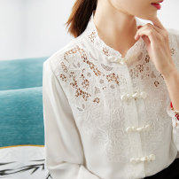 shirt Spring 2021 silk 96% and above Long sleeves commute Regular stand collar Single row multi button shirt sleeve Solid color Straight cylinder Class 77 Retro Hollowed out, embroidered, button real silk