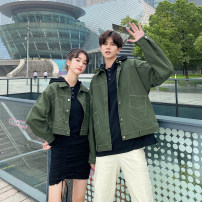 short coat Autumn 2020 S M L XL 2XL 3XL Army green girl's coat army green boy's coat black boy's sweater black girl's dress Khaki Pants Long sleeves routine Thin money singleton  easy routine Polo collar Single breasted Solid color 18-24 years old Mu Qingyu (clothing) MQY2019221509 polyester fiber