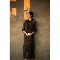 cheongsam Autumn 2020 S,M,L,XL Brown Short sleeve long cheongsam Retro Low slit daily Oblique lapel 25-35 years old 203CO721 Pastoral Tour silk 96% and above