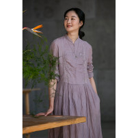 Dress Spring 2021 Grey Pink, grey blue S,M,L,XL Mid length dress singleton  Long sleeves commute stand collar Loose waist Solid color A-line skirt routine Others 35-39 years old Type A Pastoral Tour Retro pocket 211AL025 51% (inclusive) - 70% (inclusive) hemp