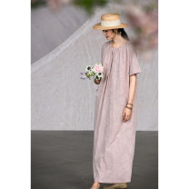 Dress Summer 2021 Greyish Pink S,M,L,XL Mid length dress singleton  elbow sleeve commute Crew neck Loose waist Solid color Socket Big swing routine Others 35-39 years old Type H Pastoral Tour Retro 212XL158 31% (inclusive) - 50% (inclusive) silk