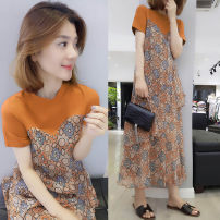 Dress Summer of 2019 S M L XL longuette singleton  Short sleeve commute Crew neck Elastic waist Decor Socket Ruffle Skirt routine 30-34 years old Fanlis lady Ruffle stitching More than 95% polyester fiber Polyester 100% Pure e-commerce (online only)