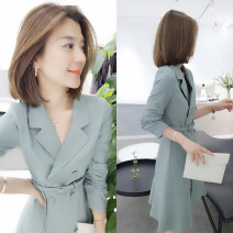 Dress Autumn of 2019 Lake blue pink yellow green S M L XL Mid length dress singleton  three quarter sleeve street tailored collar High waist Solid color Socket routine 30-34 years old Type A Fanlis Frenulum F193t05162p1 51% (inclusive) - 70% (inclusive) polyester fiber Pure e-commerce (online only)