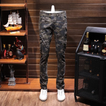 Casual pants Runaway hippo Youth fashion camouflage 28 29 30 31 32 33 34 36 38 routine trousers motion Straight cylinder Micro bomb Four seasons youth Military brigade of tooling 2018 middle-waisted Straight cylinder Overalls Pocket decoration Make old camouflage Winter of 2018