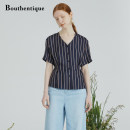 T-shirt Blue bar M L Summer 2021 Short sleeve V-neck easy Regular routine commute Viscose 71% (inclusive) - 85% (inclusive) 25-29 years old Ol style Vertical stripe solid Bouthentique 220241F1S06 Viscose 75.7% Silk 24.3% Pure e-commerce (online only)