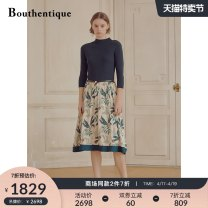 Dress Summer 2020 Green flower S M L XL Mid length dress singleton  three quarter sleeve commute Half high collar middle-waisted Decor Socket A-line skirt routine Others 30-34 years old Type A Bouthentique Ol style Splicing 220121D1Z26 91% (inclusive) - 95% (inclusive) silk