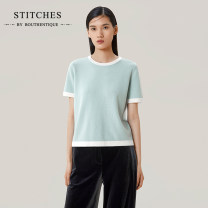 Wool knitwear Spring 2021 S M L Light blue Camel Long sleeves singleton  Socket wool More than 95% Super short Thin money commute Straight cylinder Low crew neck routine Solid color Socket Ol style Z21131F1M25 25-29 years old Bouthentique Wool 100% Pure e-commerce (online only)