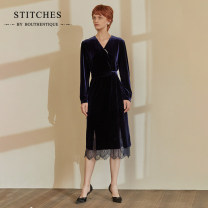 Dress Autumn 2020 Dark blue S M L Mid length dress singleton  Long sleeves commute V-neck middle-waisted Solid color Socket A-line skirt routine Others 25-29 years old Type A Bouthentique lady Z20311D1E19 More than 95% other polyester fiber Pure e-commerce (online only)
