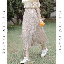 skirt Summer 2021 S M L Yellow light yellow Mid length dress Versatile High waist High waist skirt Decor 18-24 years old More than 95% Mo Xiaoxi polyester fiber Polyester 100% Pure e-commerce (online only)