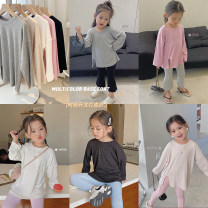 T-shirt White, apricot, black, gray, pink Other / other 90cm logo 5100cm logo 7 [model size], 110cm logo 9120cm logo 11130cm logo 13140cm logo 15150cm logo 150 female spring and autumn Long sleeves Crew neck Korean version There are models in the real shooting nothing cotton Solid color LC0213 other