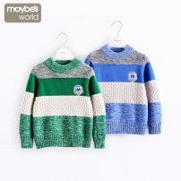 Sweater / sweater 100cm,110cm,120cm,130cm,140cm,150cm,160cm Pure cotton (100% cotton content) male Green, water blue Maybe's world leisure time No model Socket thickening Crew neck nothing Ordinary wool other Cotton 100% 18am191801 Class B