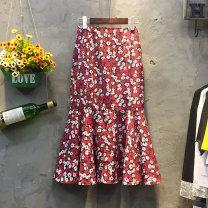 skirt Summer of 2018 S,M,L,XL gules Mid length dress commute High waist Ruffle Skirt Decor Type A 25-29 years old Chiffon Korean version