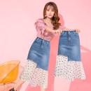 skirt Spring 2020 S M L XL XXL blue Mid length dress commute High waist skirt 25-29 years old T120739-8094 SMSD / Shenma Era Asymmetric zipper stitching in pocket Korean version Exclusive payment of tmall