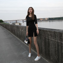 Dress Autumn of 2018 XS S M L XL Short skirt singleton  three quarter sleeve commute V-neck High waist Solid color Socket Pencil skirt routine Others 25-29 years old Type X Lezhen Ol style 3D 31% (inclusive) - 50% (inclusive) knitting nylon