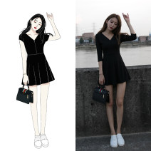 Dress Autumn of 2019 3 / 4 sleeve long sleeve short sleeve XS S M L XL Short skirt singleton  Short sleeve commute V-neck High waist Solid color Socket A-line skirt routine Others 18-24 years old Type X Lezhen Korean version LZ-2932 31% (inclusive) - 50% (inclusive) knitting nylon