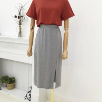 skirt Spring 2021 S, M Gray, black Mid length dress Versatile Natural waist other Solid color Type H 30% and below other cotton