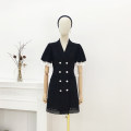 Dress Summer 2021 black S,M,L Short skirt singleton  Short sleeve commute tailored collar High waist Solid color double-breasted A-line skirt Petal sleeve Others Type A Korean version 30% and below other cotton