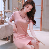 Nightdress Xipopin M L XL XXL XXXL sexy Short sleeve Leisure home Short skirt summer Solid color youth V-neck Polyester (polyester) Embroidery 81% (inclusive) - 95% (inclusive) Q8093 200g Summer of 2019 Polyester 95% polyurethane elastic fiber (spandex) 5%