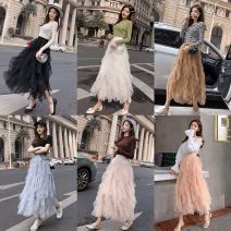 skirt Spring 2021 Average size Black (new versatile) white (new versatile) gray (new versatile) apricot (new versatile) nude (new versatile) pink (new versatile) Brown (new versatile) Mid length dress commute High waist Cake skirt Solid color XI247 More than 95% other Tian Yao polyester fiber