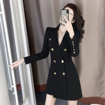 Dress Autumn 2020 S M L XL Short skirt singleton  Long sleeves commute tailored collar High waist Solid color double-breasted Irregular skirt routine 18-24 years old Type A Qinze language Britain 71% (inclusive) - 80% (inclusive) other polyester fiber Polyester 80% other 20%