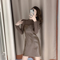 Dress Winter of 2019 Brown two piece set S M L XL Short skirt singleton  Long sleeves commute One word collar High waist Solid color Socket A-line skirt routine Others 18-24 years old Type A Qinze language Korean version QZY1912-2062 71% (inclusive) - 80% (inclusive) polyester fiber
