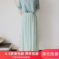skirt Summer 2020 M Light green Mid length dress fresh High waist Pleated skirt Solid color Type A More than 95% Chiffon other