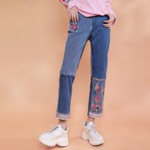 Jeans Autumn 2021 Denim blue S,M,L trousers Natural waist Straight pants routine Embroidery Cotton denim light colour Flower making