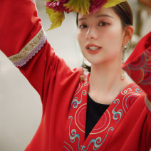 Sweater / sweater Spring 2021 Black, red S,M,L Long sleeves routine singleton  routine V-neck easy commute pagoda sleeve 25-29 years old 31% (inclusive) - 50% (inclusive) Flower making ethnic style cotton A206338 Embroidery, handmade grape buckle cotton