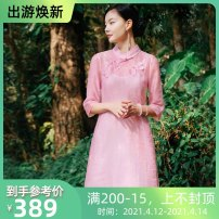 cheongsam Summer of 2019 S,M,L,XL Pink + white three quarter sleeve long cheongsam ethnic style High slit Oblique lapel Flower making 71% (inclusive) - 80% (inclusive)