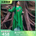 Dress Spring 2020 Rose red, green S, M longuette singleton  Long sleeves commute V-neck Loose waist Flower making ethnic style Embroidery, stitching, buttons A226355 More than 95% cotton