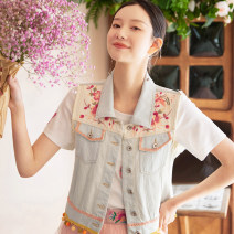 Vest Summer 2021 Light denim blue S,M,L,XL have cash less than that is registered in the accounts square neck commute Single breasted A207297 Flower making 96% and above cotton Embroidery, buttons