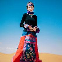 skirt Winter 2020 S, M Decor longuette commute Natural waist A-line skirt Type A Flower making cotton ethnic style